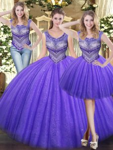 Custom Made Lavender Sleeveless Tulle Lace Up Ball Gown Prom Dress for Military Ball and Sweet 16 and Quinceanera
