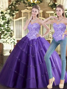 Amazing Purple Sleeveless Floor Length Beading Lace Up Quinceanera Dresses