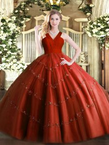Trendy Rust Red Quinceanera Gown Military Ball and Sweet 16 and Quinceanera with Beading V-neck Sleeveless Zipper
