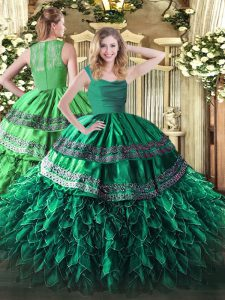 Dark Green Sleeveless Beading and Lace and Ruffles Floor Length Quinceanera Gowns
