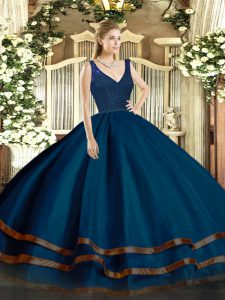 Elegant Navy Blue Sleeveless Floor Length Beading and Ruffled Layers Zipper Ball Gown Prom Dress