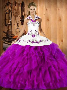 Exquisite Sleeveless Floor Length Embroidery and Ruffles Lace Up Sweet 16 Quinceanera Dress with Fuchsia