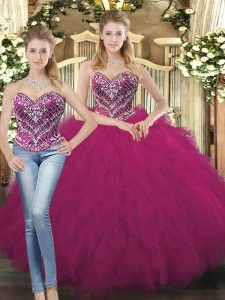 Sweetheart Sleeveless 15 Quinceanera Dress Floor Length Beading and Ruffles Fuchsia Organza