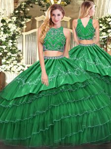 Wonderful Green Sleeveless Tulle Zipper Quinceanera Gowns for Military Ball and Sweet 16 and Quinceanera