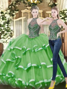 Sophisticated Organza Sleeveless Floor Length 15th Birthday Dress and Beading and Ruffled Layers