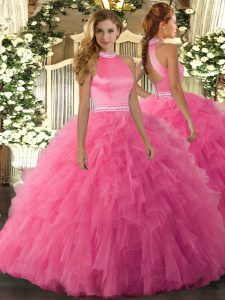 Customized Hot Pink Sleeveless Beading and Ruffles Floor Length Sweet 16 Dresses