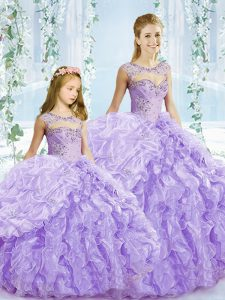 Scoop Sleeveless 15th Birthday Dress Floor Length Beading and Ruffles Lavender Organza
