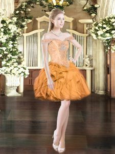 Mini Length Ball Gowns Sleeveless Orange Red Prom Dresses Lace Up