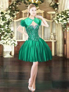 Cute Ball Gowns Prom Party Dress Dark Green Sweetheart Satin Sleeveless Mini Length Lace Up