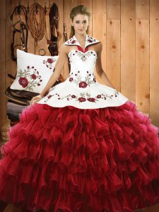 Edgy Halter Top Sleeveless Organza Sweet 16 Quinceanera Dress Embroidery and Ruffled Layers Lace Up
