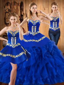 Decent Blue Sleeveless Embroidery and Ruffles Floor Length Sweet 16 Dresses