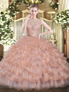 Fantastic Peach 15 Quinceanera Dress Military Ball and Sweet 16 and Quinceanera with Beading and Ruffled Layers Scoop Sleeveless Backless