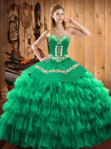 Modern Green Ball Gowns Satin and Organza Halter Top Sleeveless Embroidery and Ruffled Layers Floor Length Lace Up 15th Birthday Dress