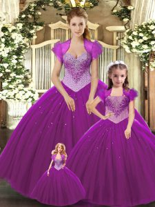 Ball Gowns Quinceanera Dresses Fuchsia Straps Tulle Sleeveless Floor Length Lace Up