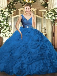 Enchanting Blue Fabric With Rolling Flowers Backless Sweet 16 Quinceanera Dress Sleeveless Floor Length Beading and Ruching
