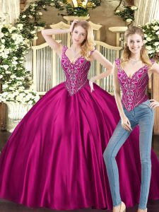 On Sale Floor Length Lace Up 15th Birthday Dress Fuchsia for Military Ball and Sweet 16 and Quinceanera with Beading