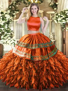 Floor Length Two Pieces Sleeveless Rust Red Quinceanera Gowns Criss Cross
