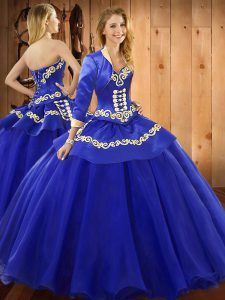 Blue Ball Gowns Ruffles Sweet 16 Dresses Lace Up Tulle Sleeveless Floor Length