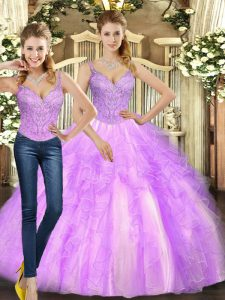 Lilac Two Pieces Beading and Ruffles 15th Birthday Dress Lace Up Organza Sleeveless Floor Length
