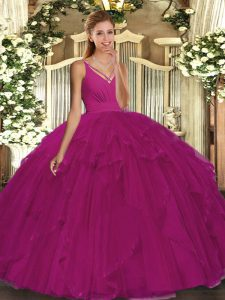 Floor Length Fuchsia Quinceanera Gowns Organza Sleeveless Ruffles