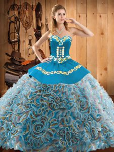Fantastic Multi-color Lace Up Sweetheart Embroidery 15th Birthday Dress Satin and Fabric With Rolling Flowers Sleeveless Sweep Train