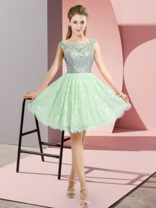Excellent Apple Green Scoop Neckline Beading Prom Party Dress Cap Sleeves Backless