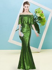 Simple Sequins Dress for Prom Green Zipper Half Sleeves Floor Length