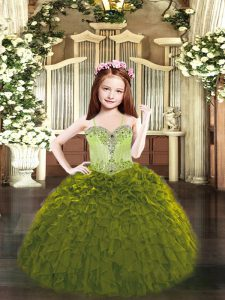 Eye-catching Organza Sleeveless Floor Length Little Girls Pageant Dress Wholesale and Beading and Ruffles