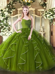 Graceful Floor Length Olive Green Sweet 16 Dress Straps Sleeveless Zipper