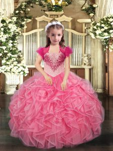 Floor Length Ball Gowns Sleeveless Coral Red Glitz Pageant Dress Lace Up