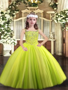 Modern Floor Length Yellow Green Winning Pageant Gowns Straps Sleeveless Lace Up