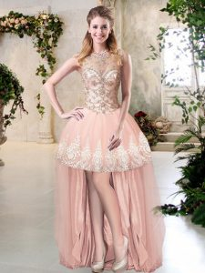 Decent Peach A-line Scoop Sleeveless Tulle High Low Zipper Beading and Lace and Appliques Prom Gown