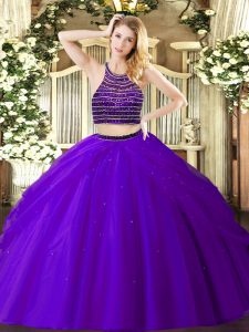 Fashionable Purple Tulle Zipper Halter Top Sleeveless Floor Length Quinceanera Gown Beading and Ruching
