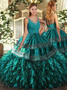 Organza Sleeveless Floor Length Quinceanera Gown and Ruffles