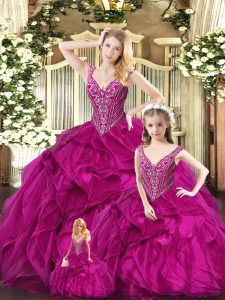 Extravagant Sleeveless Floor Length Ruffles Lace Up Sweet 16 Dresses with Fuchsia