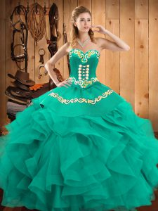 Custom Design Turquoise Lace Up Sweetheart Embroidery and Ruffles Ball Gown Prom Dress Satin and Organza Sleeveless