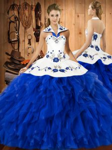 Blue And White Sleeveless Satin and Organza Lace Up Sweet 16 Dresses for Military Ball and Sweet 16 and Quinceanera