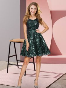 Free and Easy Sleeveless Sequined Mini Length Zipper Bridesmaid Dress in Dark Green with Sequins