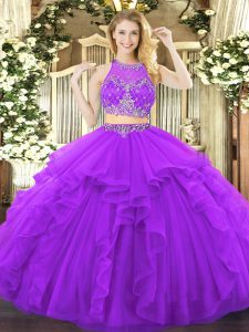 Purple Sleeveless Tulle Zipper Quince Ball Gowns for Military Ball and Sweet 16 and Quinceanera
