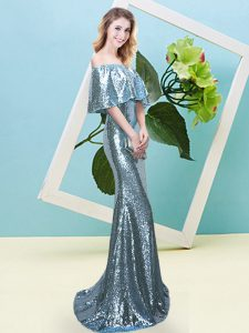 Light Blue Half Sleeves Floor Length Sequins Zipper Prom Dresses