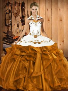 Charming Brown Ball Gowns Embroidery and Ruffles Ball Gown Prom Dress Lace Up Satin and Organza Sleeveless Floor Length