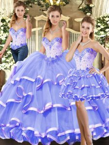 Cute Beading and Ruffled Layers Sweet 16 Dress Lavender Lace Up Sleeveless Floor Length