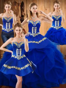 Delicate Ball Gowns Quinceanera Gown Blue Sweetheart Satin and Organza Sleeveless Floor Length Lace Up