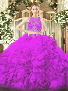 Discount Lilac Ball Gowns Beading Sweet 16 Quinceanera Dress Zipper Fabric With Rolling Flowers Sleeveless Floor Length