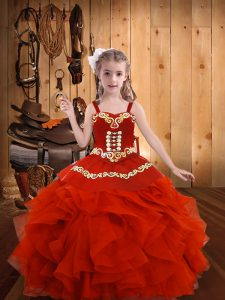 Straps Sleeveless Organza Pageant Dress Toddler Embroidery and Ruffles Lace Up