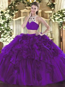 Modern High-neck Sleeveless 15th Birthday Dress Floor Length Beading and Ruffles Eggplant Purple Tulle