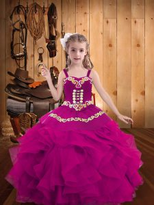 Dazzling Fuchsia Lace Up Straps Embroidery and Ruffles Kids Formal Wear Organza Sleeveless