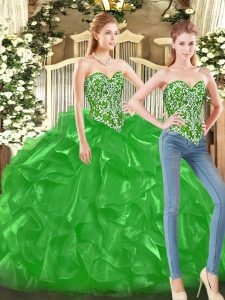 Elegant Green Sleeveless Tulle Lace Up Ball Gown Prom Dress for Military Ball and Sweet 16 and Quinceanera