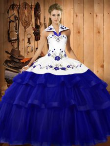 Glamorous Royal Blue Sleeveless Organza Sweep Train Lace Up Quinceanera Gown for Military Ball and Sweet 16 and Quinceanera