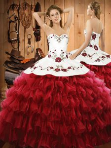 Delicate Floor Length Wine Red 15th Birthday Dress Organza Sleeveless Embroidery and Ruffled Layers